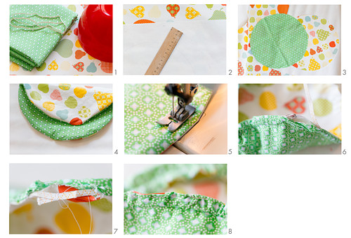 Instructions for making oilcloth and cotton bowl covers