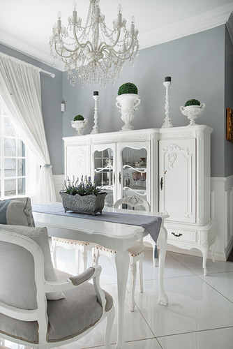 White Antique Dresser And Dining Table