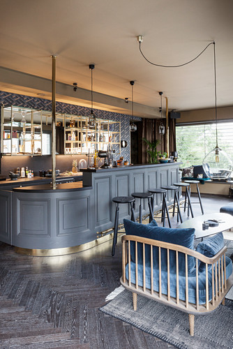 Vintage bar with grey panelled front