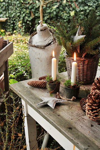 Christmas Decoration With Candles And Stars