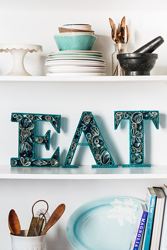 Word made from handcrafted decorative letters