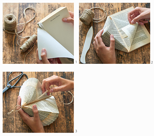Instructions for making a prism from folded book pages