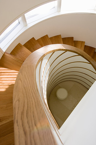 View down wooden spiral staircase