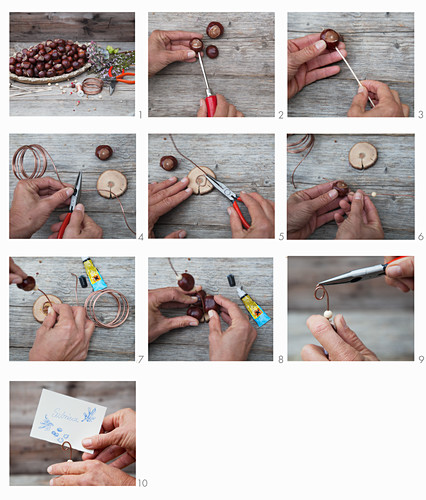 Instructions for making place card holders from horse chestnuts