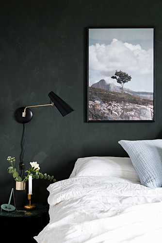 Double bed, side table, wall-mounted lamp and picture on dark wall in bedroom