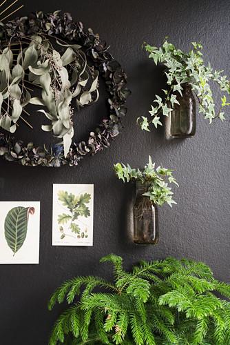 Deko mit Pflanzen und botanischen Postkarten an schwarzer Wand