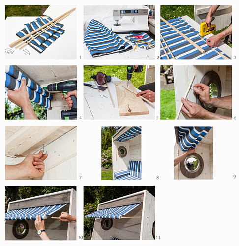 Instructions for making an awning for a DIY wooden beach chair