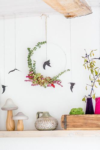 Halloween wreath with hydrangea florets and eucalyptus