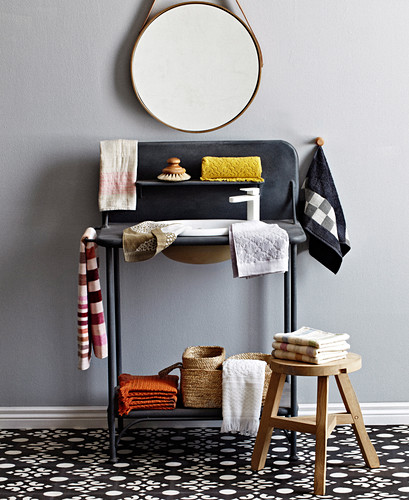 Vanity with several different towels