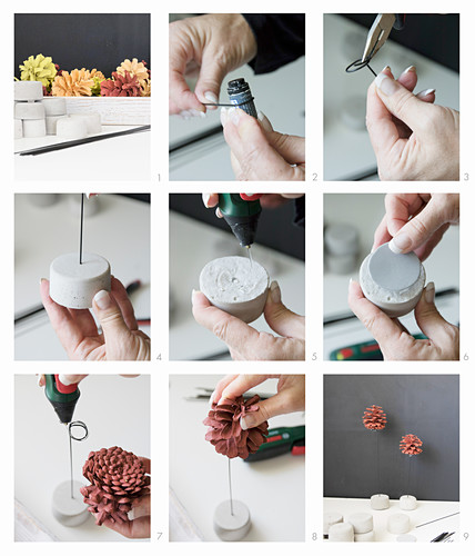 Instructions for making painted pine cones on wire stands with concrete bases