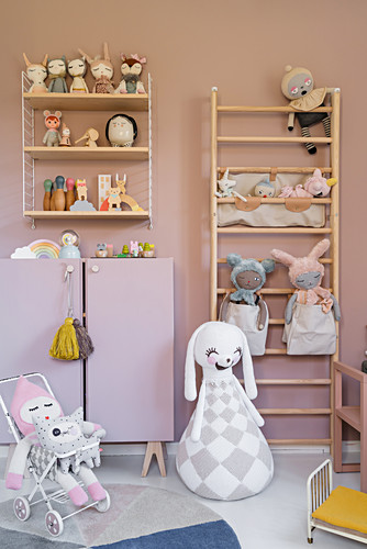 Wall bars next to cabinet in child's bedroom