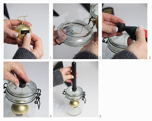 Anleitung für einen Kerzenhalter aus einem Einmachglas