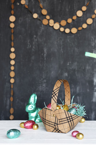 Handmade Easter basket and chocolate eggs