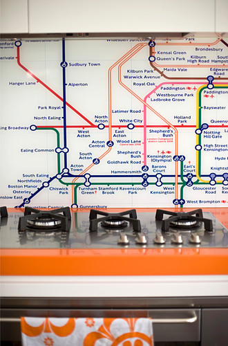 Map of London underground as splashback above hob