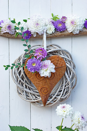 Metal heart with wreath, dahlias and asters