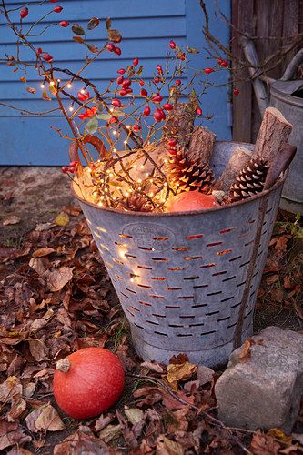Autumn arrangement with fairy lights in vintage zinc brazier in garden