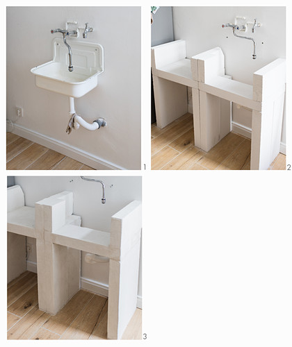 Instructions for making DIY sink unit from bricks