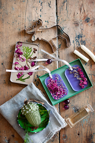 Handmade gifts of scented wax with dried flowers