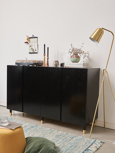 Retro standard lamp next to black-painted cabinet on feet