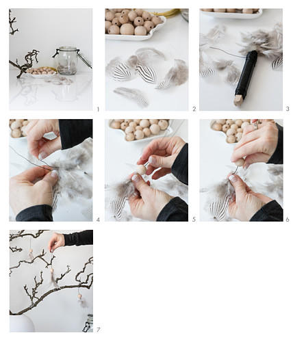Instructions for making angels from wooden bead and feathers