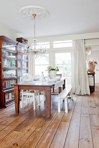 Rustic Wooden Table Set In White Below Buy Image 12802526