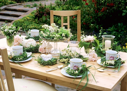 Summery table decoration for coffee in open air