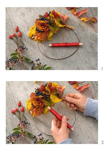 Making an autumn wreath