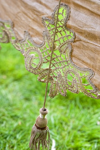 A curtain with a tassel