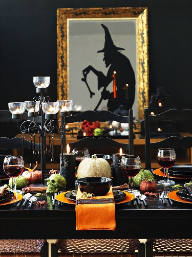 A table laid for Halloween