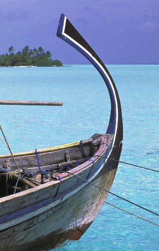 Wooden boat with a curved keel floats in a turquoise sea, in the background a view of an island with a palm forest