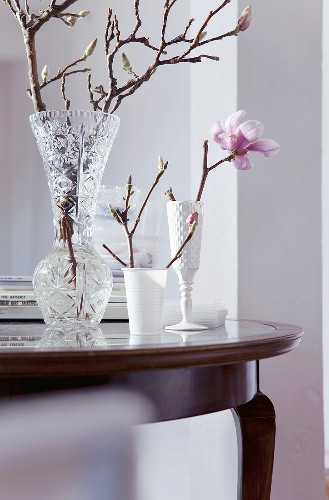 A magnolia sprig in a glass vase on an antique table
