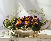 Flower Centerpiece with Pansies and Violets