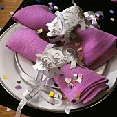 Fabric napkins with lucky silver pigs