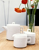 Designer tableware: coffee pot, sugar bowl & milk jug