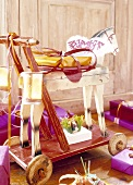 Antique wooden horse, decorated for Christmas