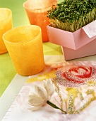 Home-made table mat with flower motif