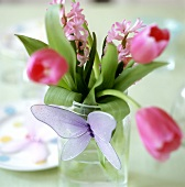 Tulips and hyacinths as table decoration