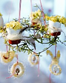 Easter wreath with tree ornaments