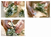Decorating tea light glasses with white heather