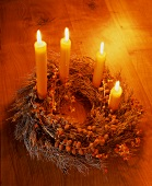 An Advent wreath with burning candles