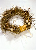 Easter wreath with quail's eggs