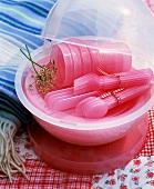 Pink plastic picnicware
