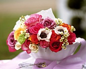 Bouquet of roses and anemones