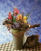 Arrangement of yellow and pink hyacinths