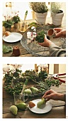 Making autumn decoration with pears, berries and cyclamen
