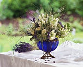 Bouquet of blue and white summer flowers
