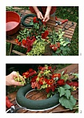Making a wreath of flowers using flowering arranging foam