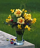 Easter bouquet with double narcissi and daffodils