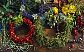 Herb wreaths and wreath of rose hips