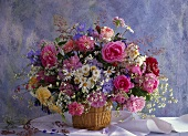 Fragrant summer bouquet of English roses, marguerites etc.